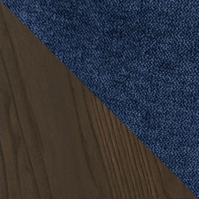 Синий, велюр / Темное дерево
