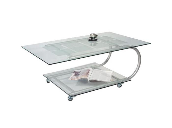 Стеклянный журнальный стол на колесиках 104-1440